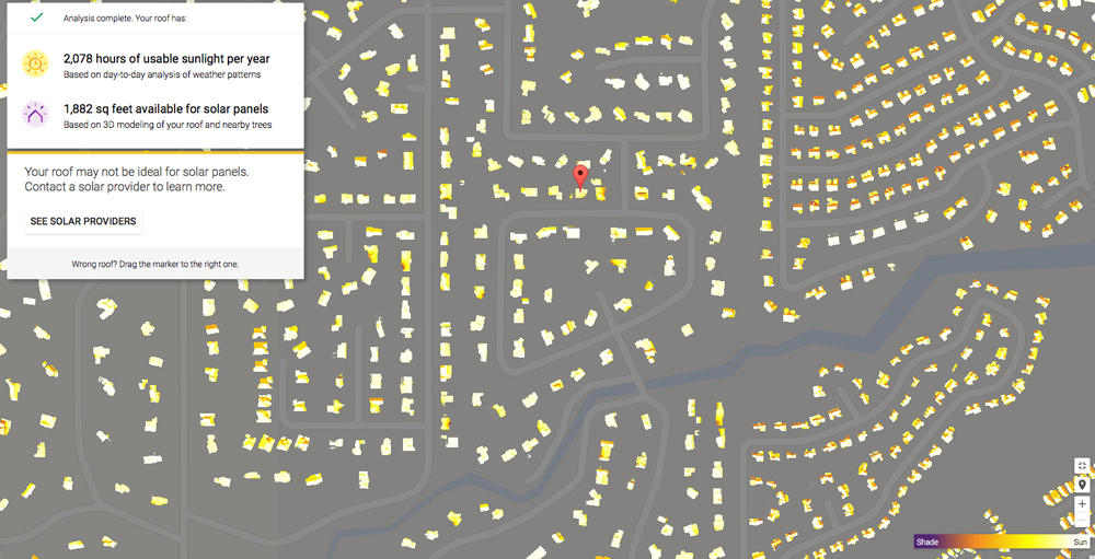 Google Solar Map >> Google S Project Sunroof Maps Solar Potential Of Your Home