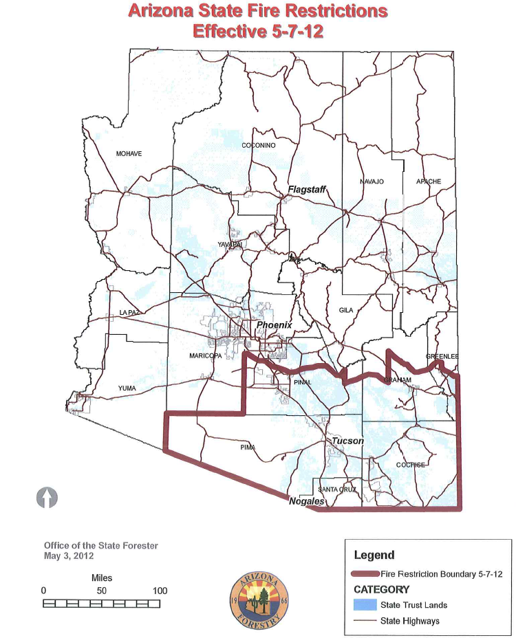 fire restrictions in effect for southern arizona