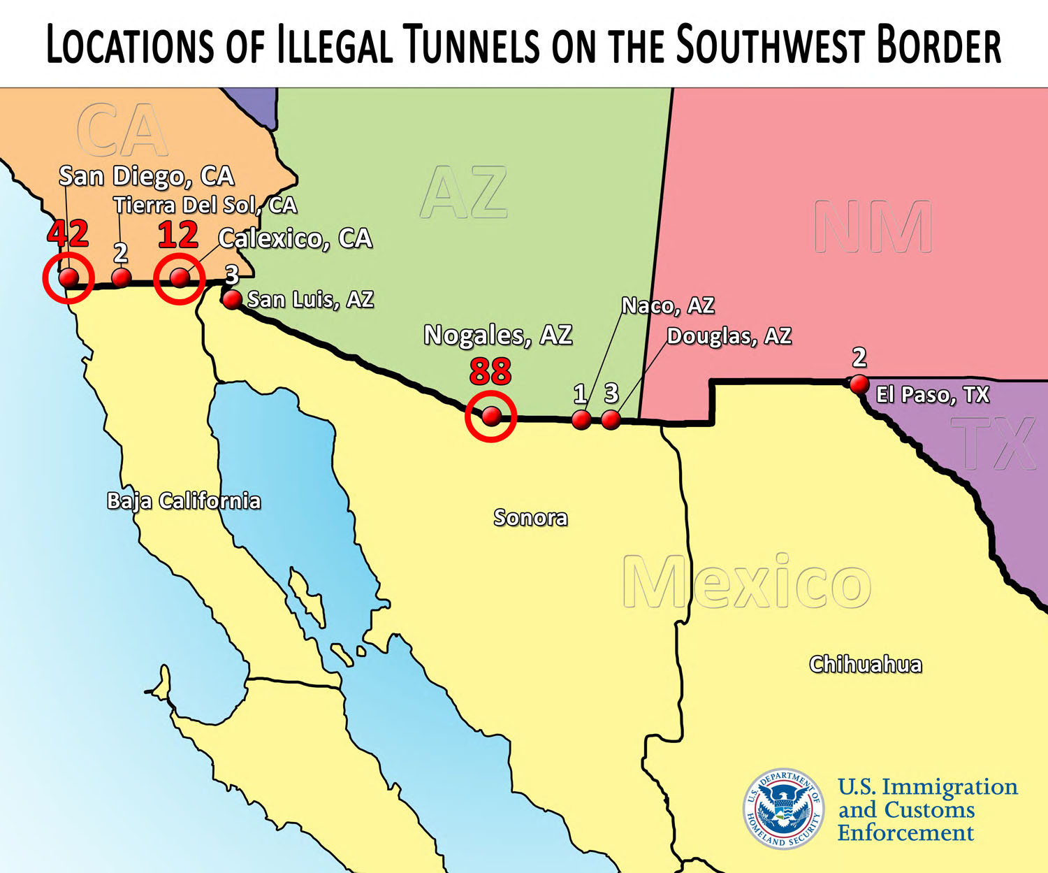 Map Of Arizona California Border.Smugglers Target Arizona For 2 Of Every 3 Border Tunnels