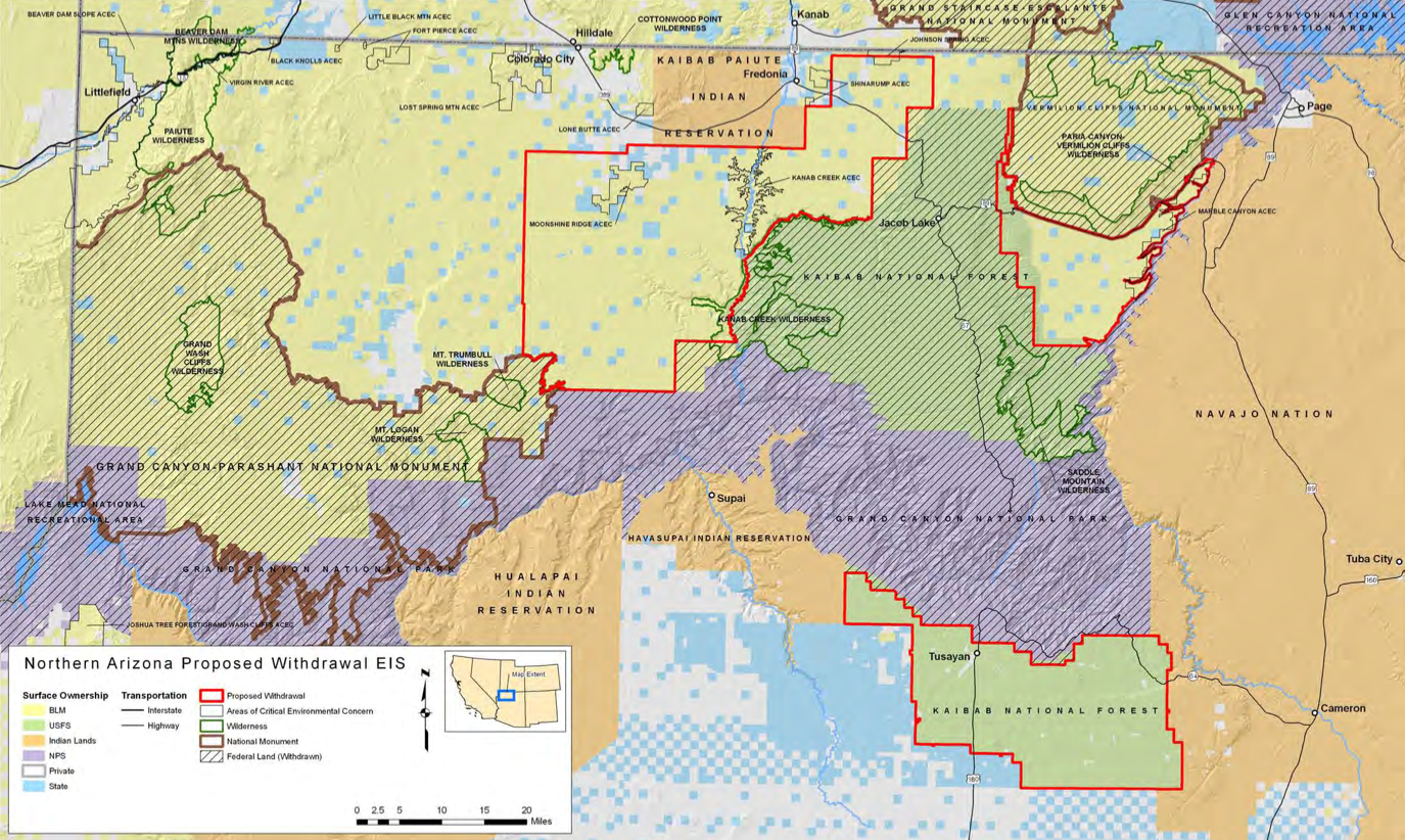 Feds Extend Miningclaim Ban Near Grand Canyon For Months - Grand canyon pa map
