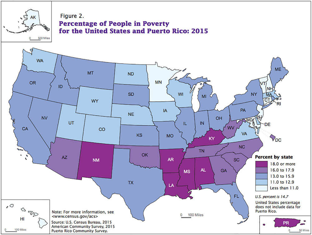 Arizona Poverty Rates Fell In Still Among Nations Highest - Us poverty map 2014