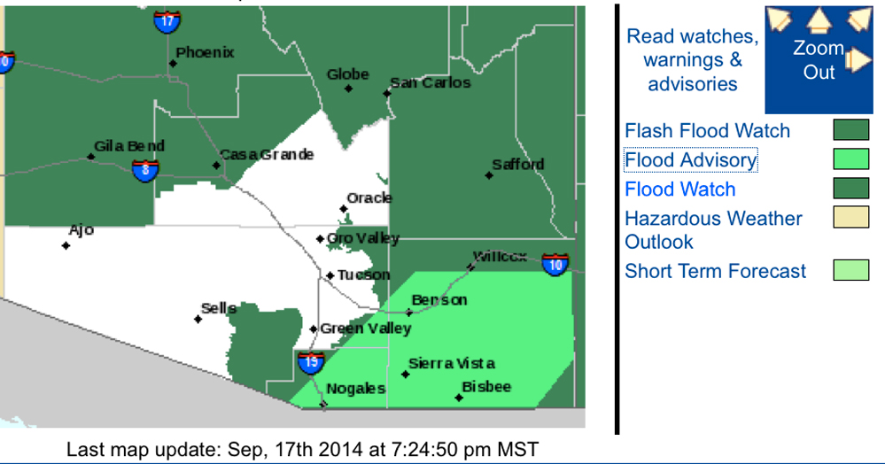 Update Weather Service Lifts Flood Watch For Tucson