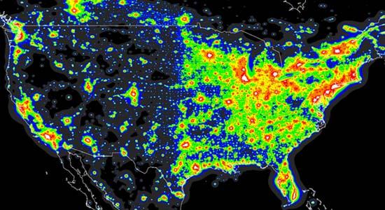 Dark Sky Map Us In the dark: Sky observations cast light on pollution
